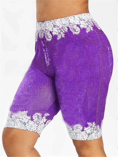 Slim-Cut Breathable Floral Patchwork Pocket Denim Bermuda Pants
