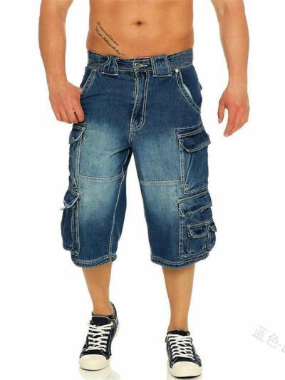 Men's Fashion Casual Loose Knee Denim Trousers