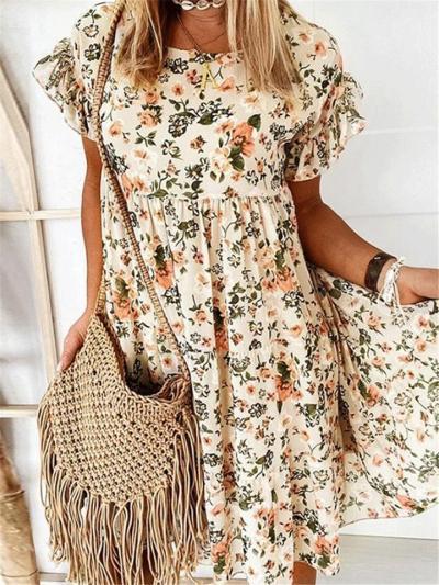 Fashion Frint Loose Round Neck Shrt Sleeve Vintage Dresses For Ladies