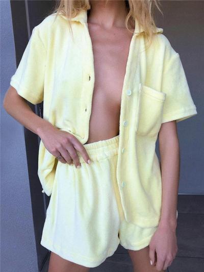 Soft Touch Leisure Wear 2 Piece Set Button Short Sleeve Top + Elastic Waistband Shorts