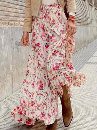 Casual Print Loose Fashion Mid Length Skirts