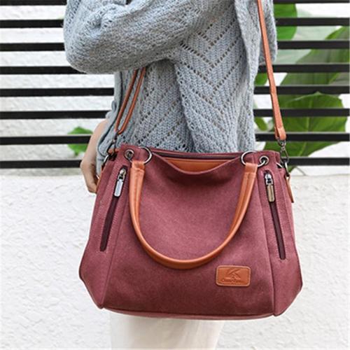 Women's Multi-pocket Shoulder Bag Fashion Cotton Canvas Handbag Tote Purse