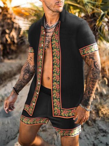 Mens Casual Print Personality Short Sleeve T-Shirts+Shorts