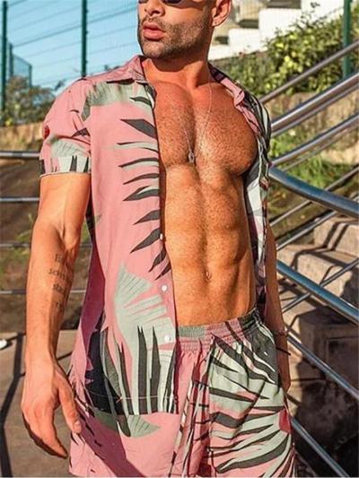 Mens Print Lightweight Soft Beach Shirts+Shorts