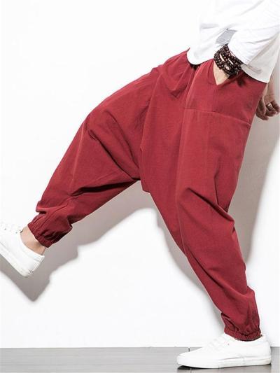 Mens Casual Loose Cotton Linen Harem Pants