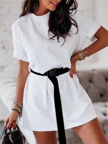 Straight Silhouette Crew Neck Short Sleeve Thigh-Length T-Shirt Dress with Waist Belt
