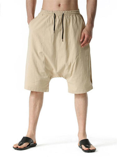 Mens Baggy Linen&Cotton Knee Shorts
