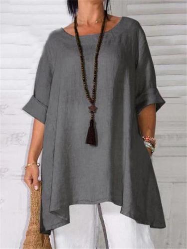 Oversized Style Scoop Neck Half Sleeve Linen Cotton Asymmetric Hem Pullover Tops