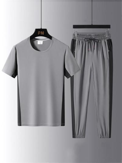 Mens Casual Patchwork Workout T-Shirts+Pants