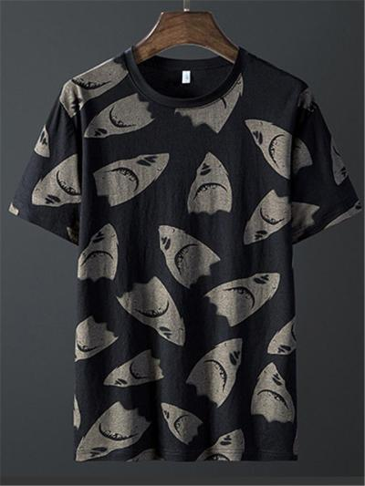 Mens Print Lightweight Breathable Soft T-Shirts+Shorts