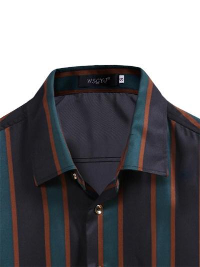Mens Casual Slim Fit Stripe Business Long Sleeve Shitrs