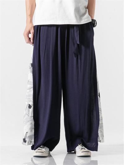 Linen Cotton Elastic Waistband Drawstring Pleated Detailing Crane Print Full Length Pants
