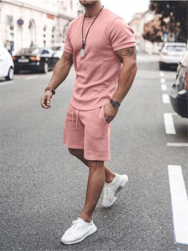 Mens Casual Pure Color Comfy Short Sleeve T-Shirts+Shorts