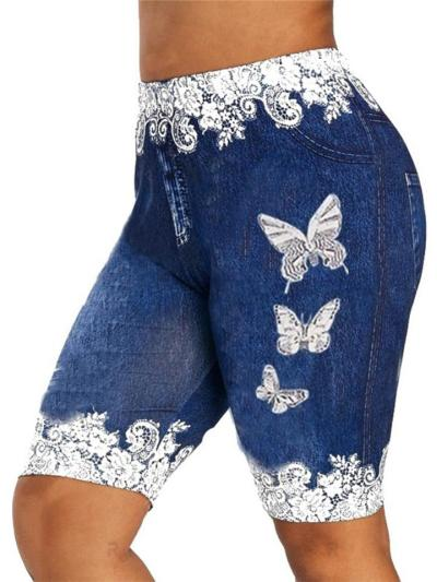 Breathable Slim-cut Butterfly Floral Patchwork Pocket Stretchy Bermuda Pants