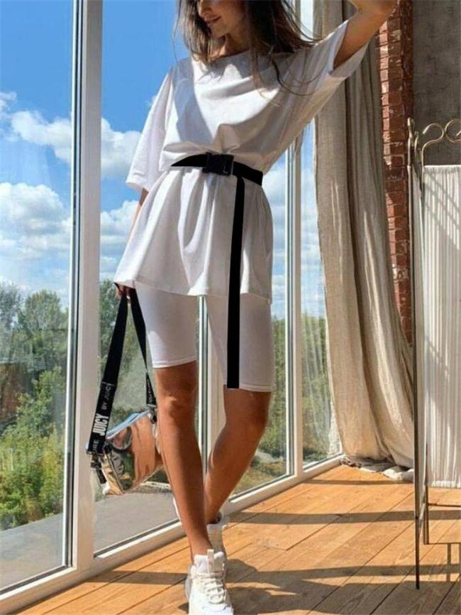 Relaxed Fit 3 Piece Set Loose Style T-Shirt + Slim Cut Shorts with Waist Belt