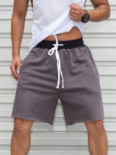 Mens Comfy Patchwork Drawstring Elastic Waist Sports Shorts