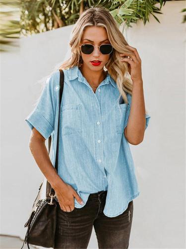 Loose Casual Straight Denim Short Sleeve Shirts