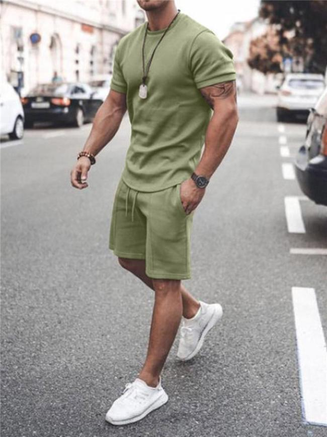 Mens Casual Pure Color Comfy Short Sleeve T-Shirts+Shorts