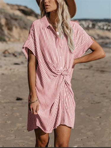 Casual Slim Fit POLO Collar Stripe Trendy Dresses For Ladies