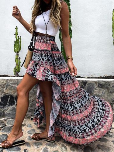 Stylish Irregular Print Casual Comfy Skirts For Ladies