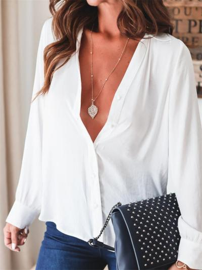 On-Trendy Chiffon shirt with long sleeves Tops