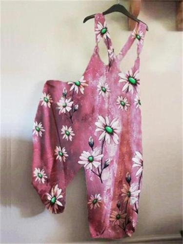 On-Trendy Round Neck All-Over Floral Print Sleeveless  Floral Overalls