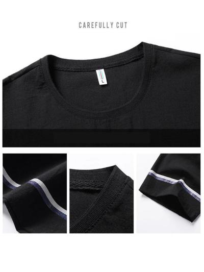Summer Ice Silk Casual Short-sleeved Trousers Suit Male Large Size Loose Korean Two-piece Thin Sports T-shirt