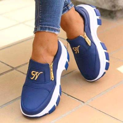 Fashionable Round Toe Side Zipper Casual Shoes