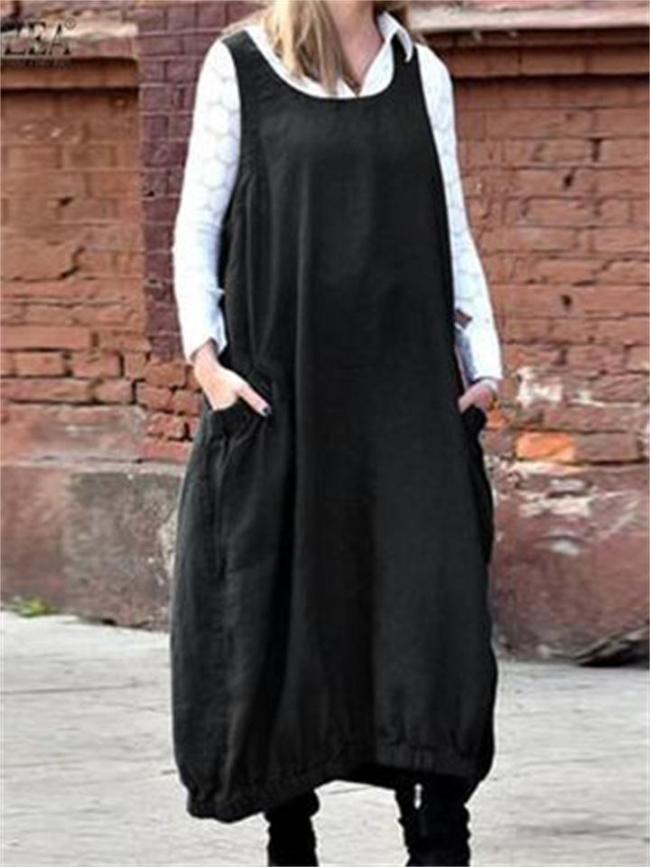 Vintage Solid Color Casual Large Pockets Dress