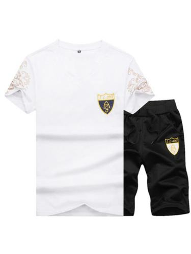 Fashion Short Sleeve T-shirt Slim Embroidered Running  Suit