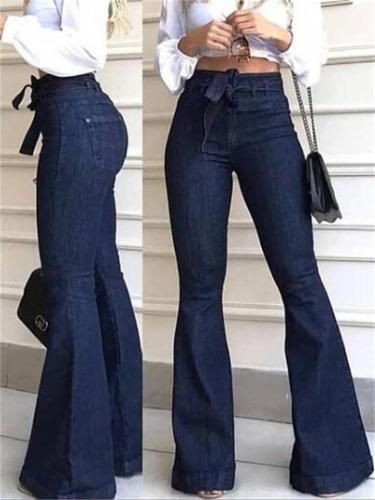 On-Trendy High-waisted Flared Bell-Bottoms  Wide-Leg Jeans