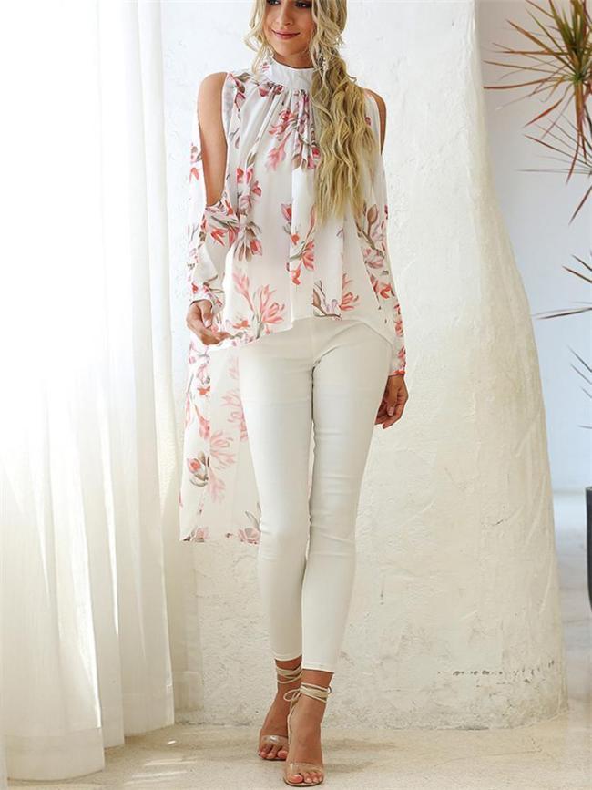 Fashion Round Neck Print Sunscreen Chiffon Blouses