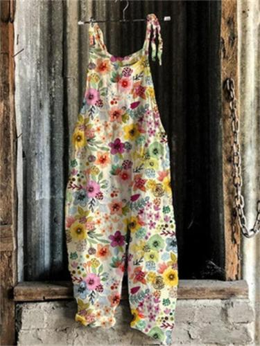On-Trendy Square Neck All-Over Floral Print Sleeveless Sunflower Floral Overalls