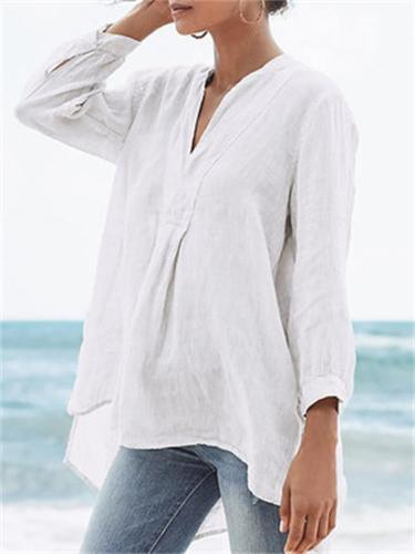 Tulle Solid Short Front Long Back Long Sleeve Blouses