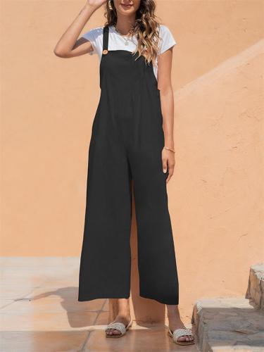 Vintage Style Medium Elasticity Loose Straight-Leg Jumpsuit