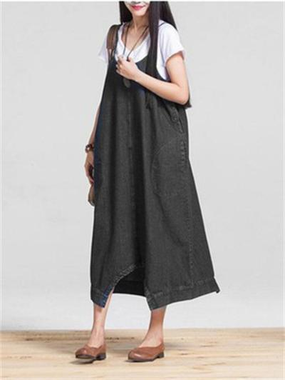 Fashion Relax Solid Color Nine Pants And Dress Two Ways To Wear