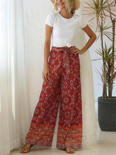 Casual Style High-Rise Print Pattern Loose Waistband Pants