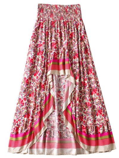Fashion Floral Pattern Irregular High Waist All-Match Skirt
