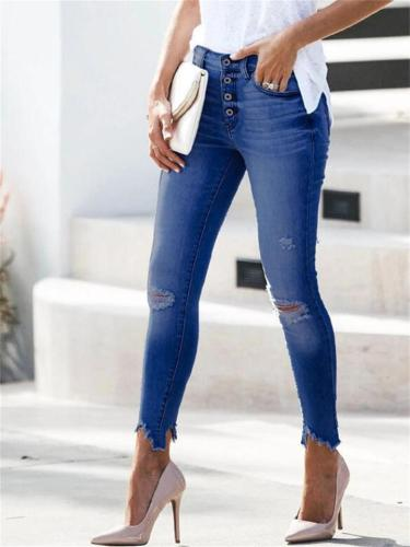 Sexy Irregular Slim Straight Fit Flare Style Jeans