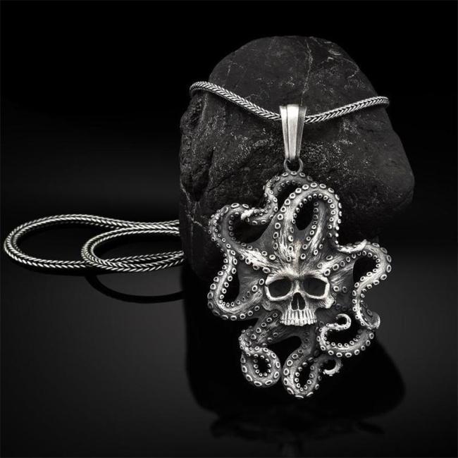Retro Octopus Sea Monster Pure Tin Pendant Necklace