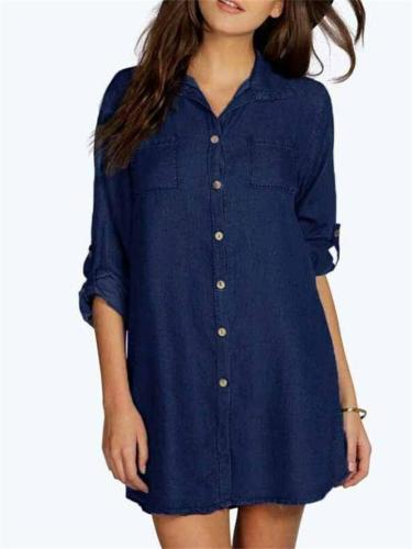 Fashion Solid Color Button Up HalfSleeve Denim Blouses