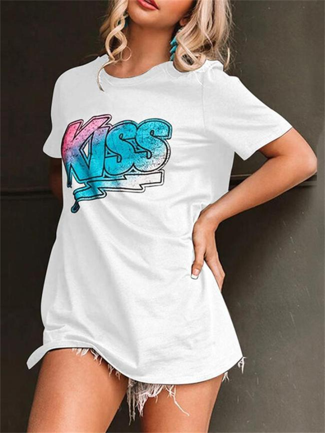 Crew Neck Letter Print Short Sleeve Casual T-Shirt