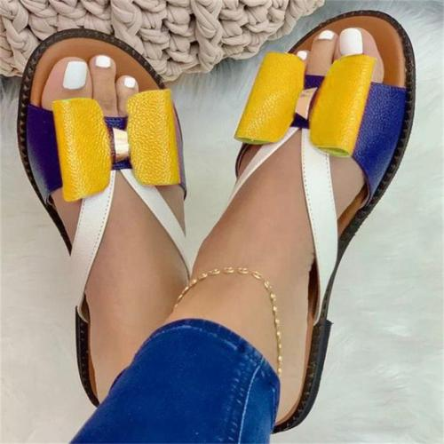 Flat Heel Low Top Multicolor Bows Patterned Slippers