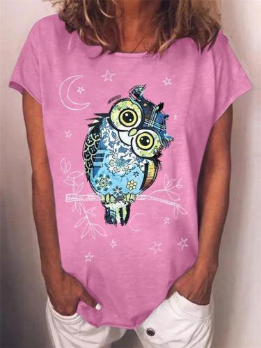 On-Trendy Crew Neck Owl Print Short Sleeve T-Shirt