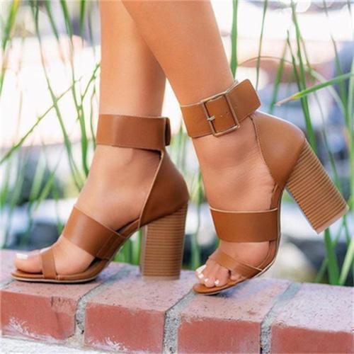 Fashion Buckle-Fastening Strap Block Heel High Platform Sandals