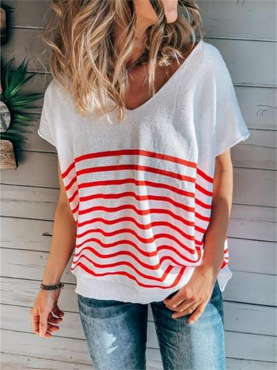 Casual V-Neck Batwing Sleeve Stripe T-Shirt