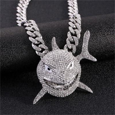 Fashion Shark Pendant Miniature Rhinestone Necklace