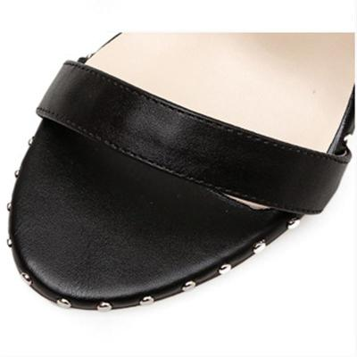 Fashion Soild Color Buckle-Fastening Ankle Strap Peep Toe High Heels