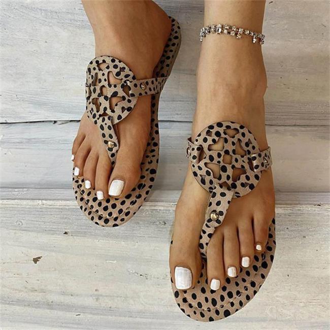 Leopard Print Flip Flops Flat Heel Slippers
