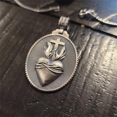 Catholic Sacred Heart Cross Pendant Necklace